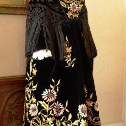 Costume Vannes 1920 - Tablier et châle velours brodé - Profil